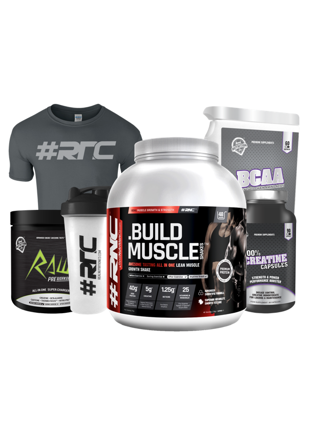 Muscle Shakes™ BUILD™ 1.87Kg, T-shirt & Shaker Bundle with BCAA, Creatine or Pre-Workout