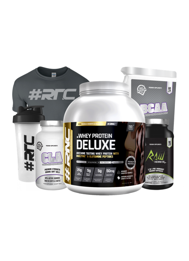 Whey Protein DELUXE 2kg, T-shirt & Shaker Bundle with BCAA, Creatine, Pre-Workout or CLA