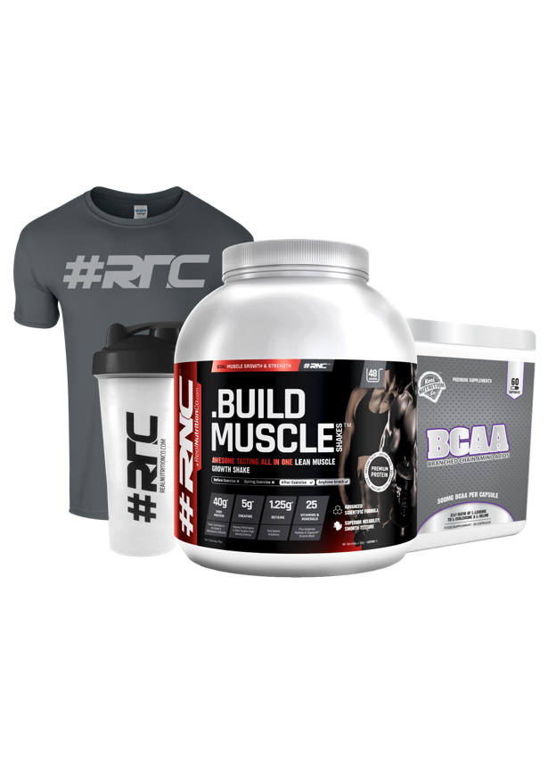 Muscle Shakes™ BUILD™ 1.87Kg, BCAA, T-shirt & Shaker Bundle