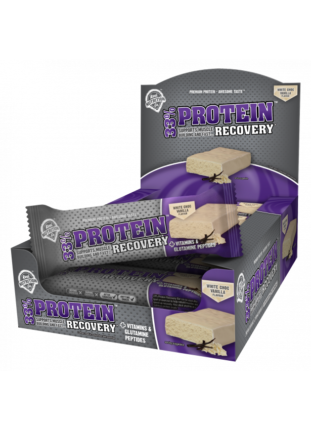 33% Protein Recovery Bar - 12 x 50g Bars White Chocolate Vanilla