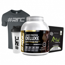Whey Protein Deluxe 2kg, RAW Thermo-Pre, T-shirt & Shaker Bundle